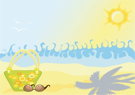 Beach with waves, a handbag and glasses on sand Stock Vector - 12763766