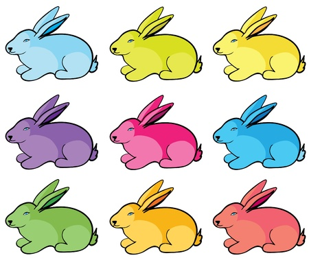unprotected: Color rabbits on a white background
