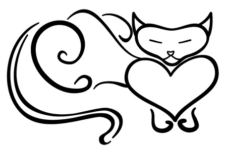 Purring cat with the closed eyes Vector