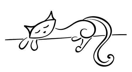 silueta gato: Silueta de un gato negro se extiende para su dise�o