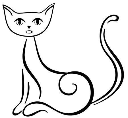 silueta de gato: Sentado hermoso gato negro ronronea