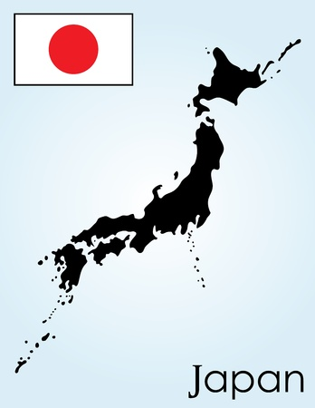 Card of Japan on a blue background Vector