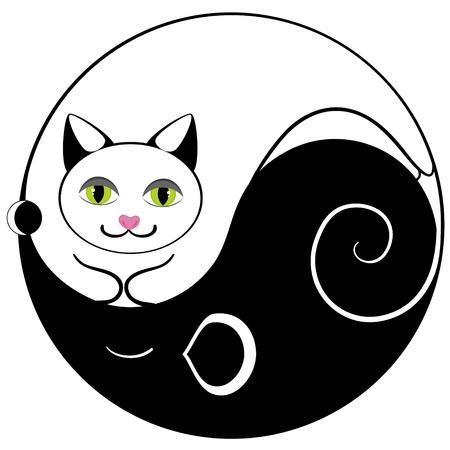 taoisme: Muis en kat ying yang symbool van harmonie en evenwicht Stock Illustratie