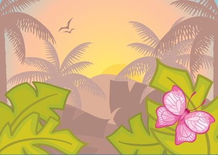 Background with tropical plants and trees  Morning  Jungle  Rainforest  Vector