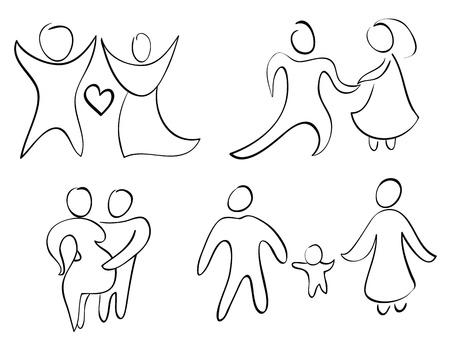 marido y mujer: Establecer signo y s�mbolo de la familia feliz