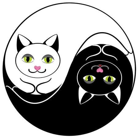 yin et yang: Cat ying yang symbole de l'harmonie et l'�quilibre Illustration
