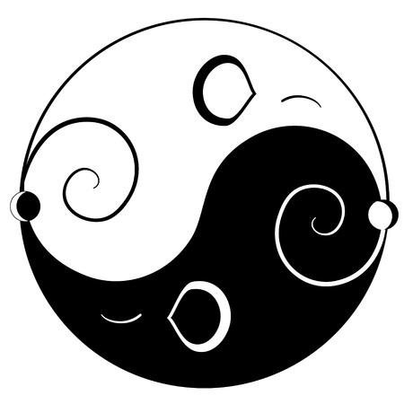 yin y yan: Ratón ying yang símbolo de la armonía y el equilibrio