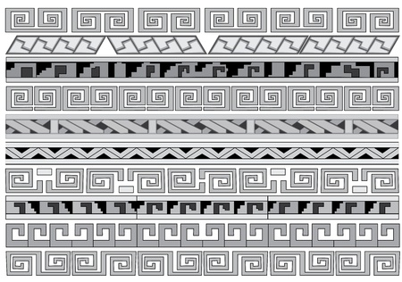 Seamless vector ornaments  Maya and aztecs  Ilustrace