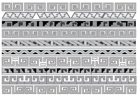 aztec: Seamless vector ornaments  Maya and aztecs  Illustration