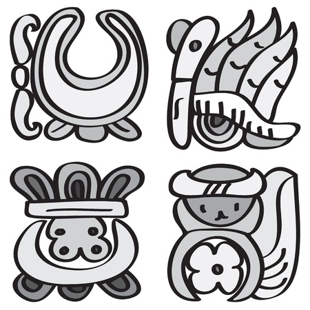 Ornament in style of the Maya  Calendar symbols  Vector