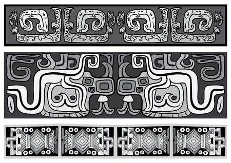 Seamless vector ornaments  Maya and aztecs  Illustration