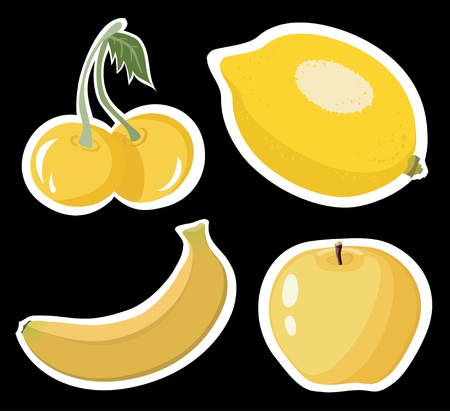 Set of four yellow fruits on black background Illustration