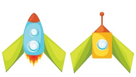 booster: Jeu de roquettes de dessin anim� vecteur sur fond blanc Illustration