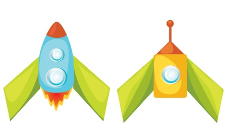 Set of vector cartoon rockets on white background