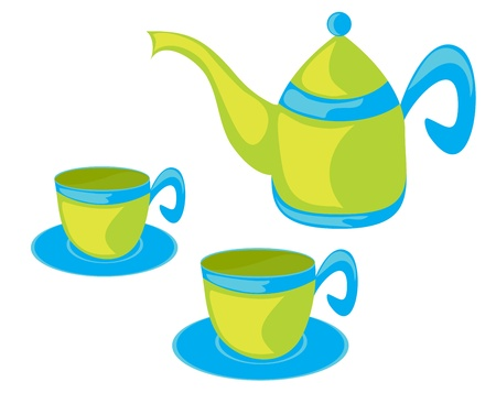 Vector illustration of teapot and cups