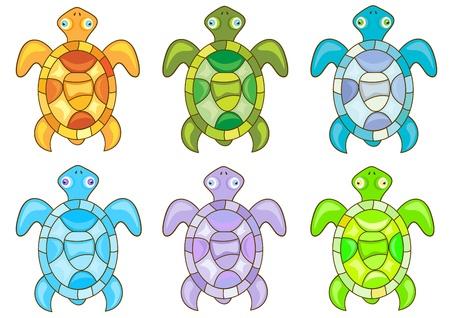 Set of cartoon turtles on white background  Vector