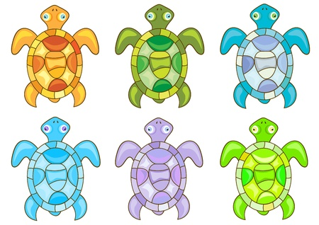Set of cartoon turtles on white background  Vector
