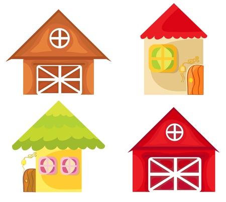 Set of cartoon houses on white background  Farm house  Illustration