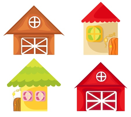 Set of cartoon houses on white background  Farm house  Illustration