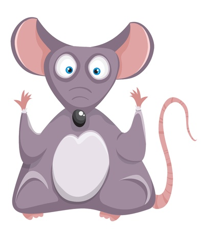 Cartoon mouse  Funny rat on a white background  Vector