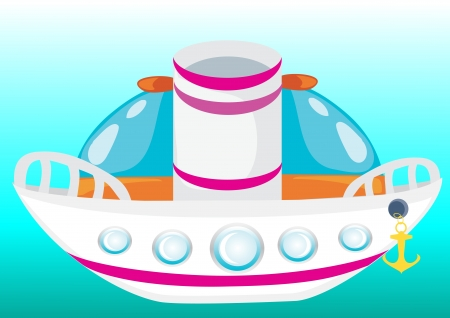 Cartoon boat  Vector beatiful ship  Illustration