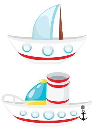 Cartoon boat  Set of vector beatiful ships  Illustration
