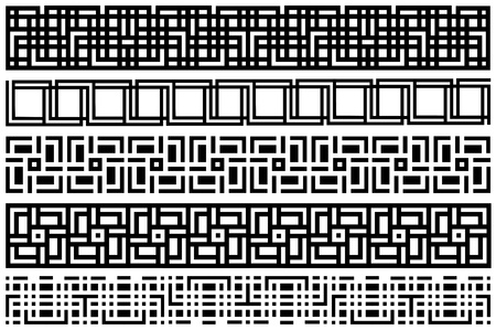 Set abstract seamless black and white pattern  Stripe pattern ornaments vector