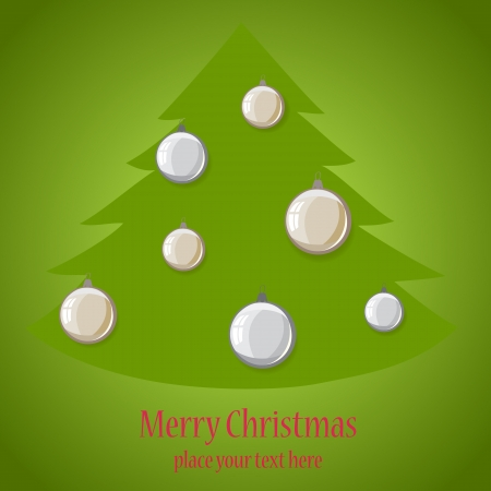 Christmas ball tree on green background