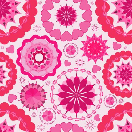Flower seamless pattern background  Pink  Wallpaper garden  Illustration