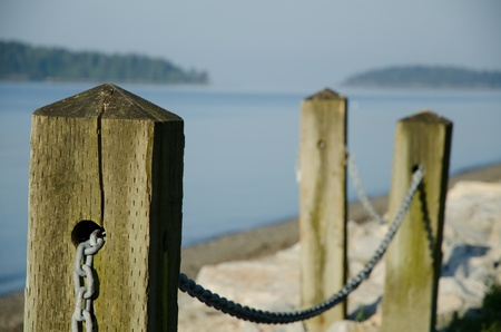 post: Wooden rail post at beach