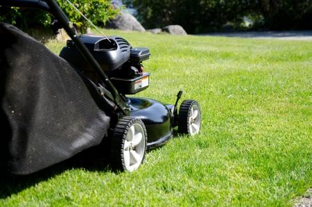 lawn mower: lawn mower cutting grass Stock Photo