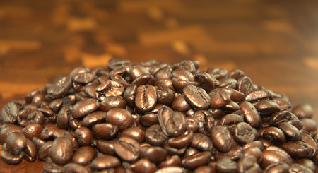 Coffee Beans on wooden counter top