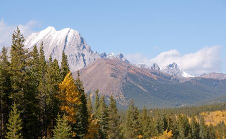 abound: Fall colors abound in the Canadian Rocky Mountains near Kananaskis Village. Stock Photo