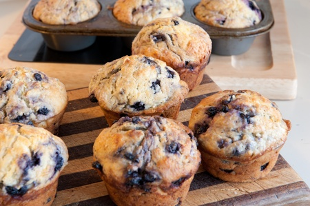 home baked: Baked blueberry muffins Stock Photo