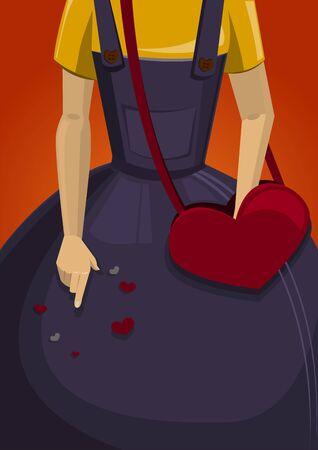 girl with bag: Girl bag valentine