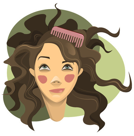 brown haired girl: Curly hair girl Illustration
