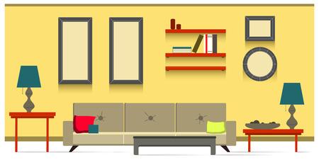 living: Interior living room Illustration