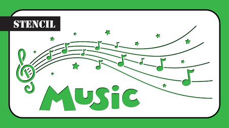 Pochoir. Composition musicale avec notes et étoiles. Modèle adapté à la coupe laser. Banque d'images - 79395650