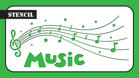 Stencil. Music composition with notes and stars. Template suitable for laser cutting.