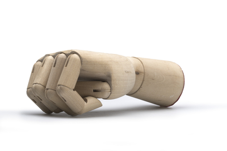 articulation: Wooden hand fist viewed from the side