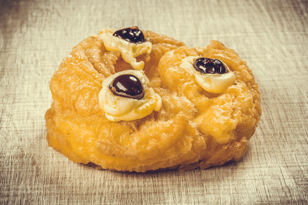 zeppola: Donuts or pancakes with sour cherry and cream for Fathers Day
