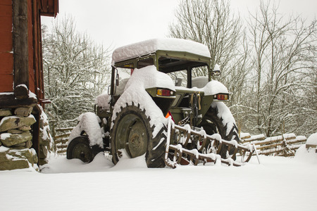 snowbound: Hibernating snowbound tractor