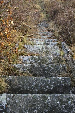 leading: Stone steps leading up Stock Photo