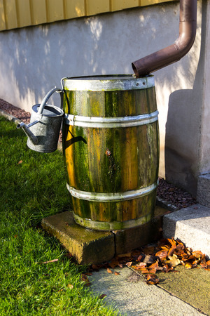 A barrel of rain water next to a house