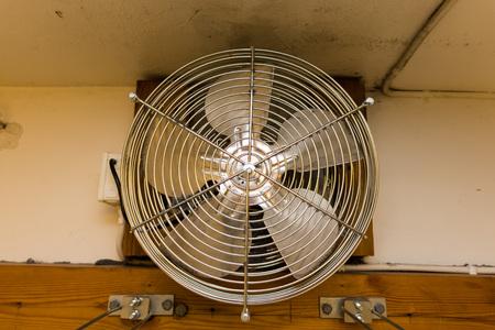 A metal fan in a drying room