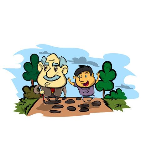 grand son: Grandfather and child