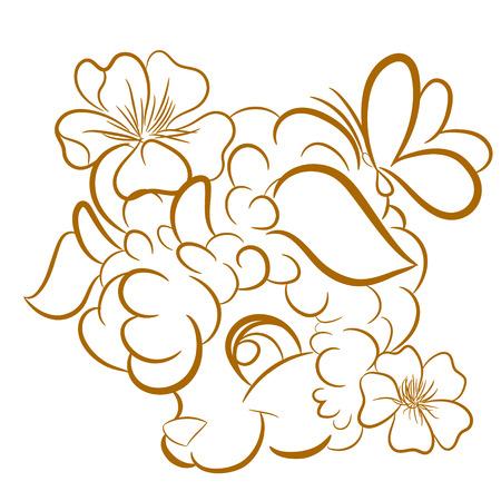 Vector image of a sheep head design