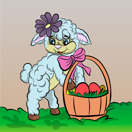 Sheep cartoon with easter egg.