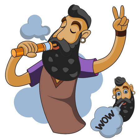 man: Vapor man. Man with vape and cloud.