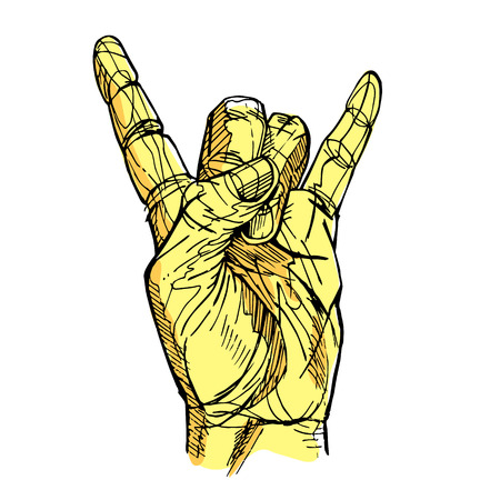 yellow rock and Roll hand sign vector